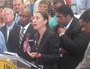 SCSJ Executive Director Anita Earls speaks on the importance of upholding Voting Rights for all at a 2013 Moral Monday event