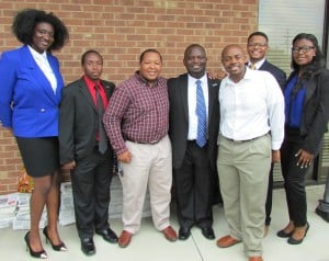 Montravias with student supporters from Elizabeth City State University