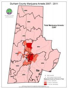 Locations of marijuana arrests