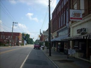Downtown Mount Gilead, N.C., where an Election Day sting operation has residents concerned about voter intimidation. (Photo by Dincher via Wikipedia.)