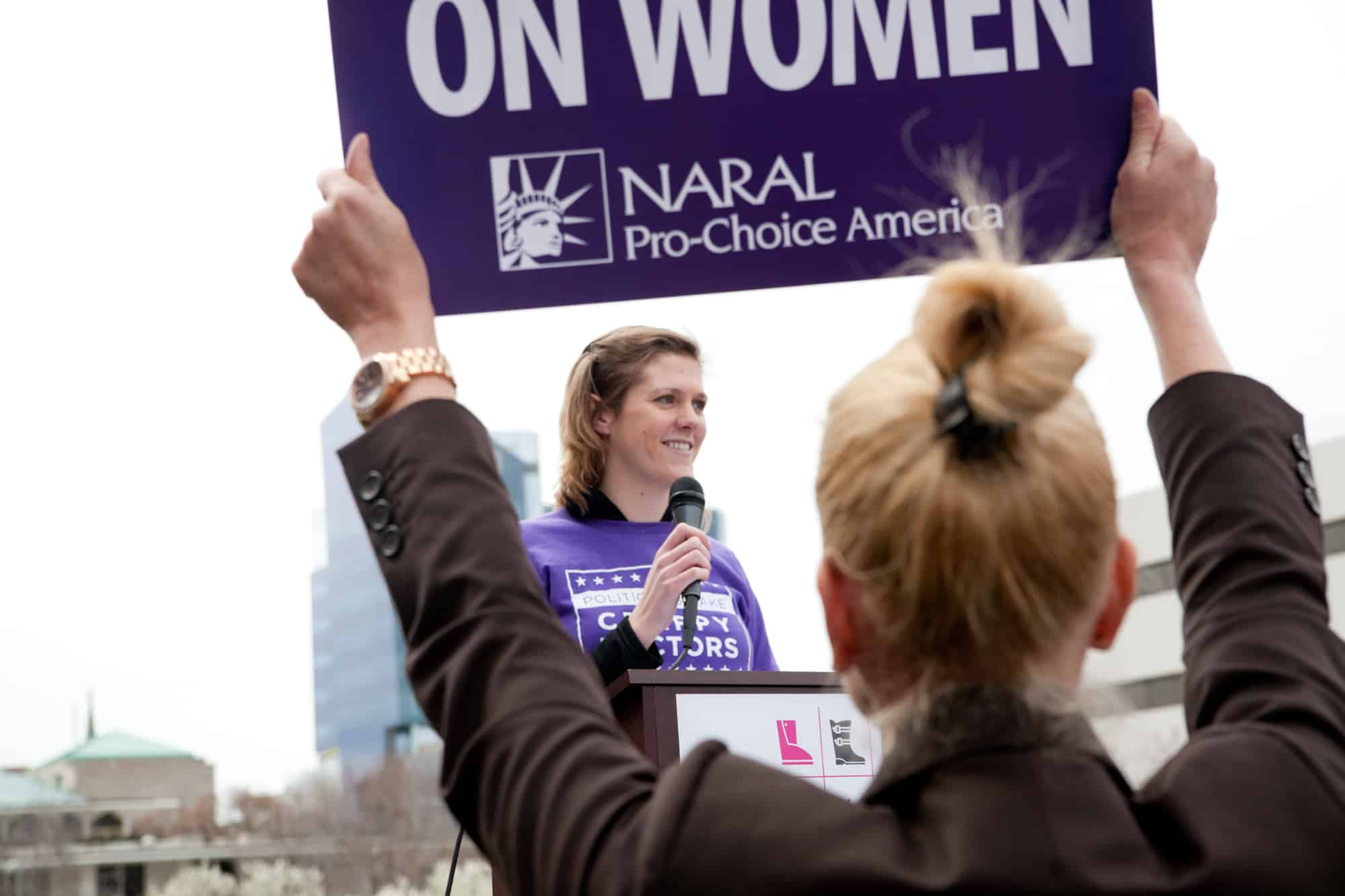 Hannah Osborn, NARAL NC Intern Class of 2013, NC State Class of 2014, speaks at a Rally last