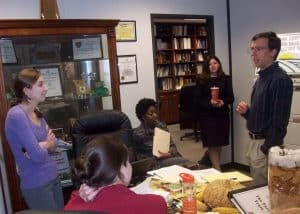 Students get last-minute advice from SCSJ's Chris Heaney