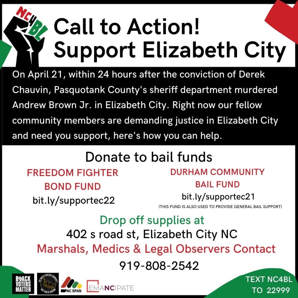 Black, red, green, and white flyer with call to action to donate to bail funds and drop off supplies for Elizabeth City protesters.