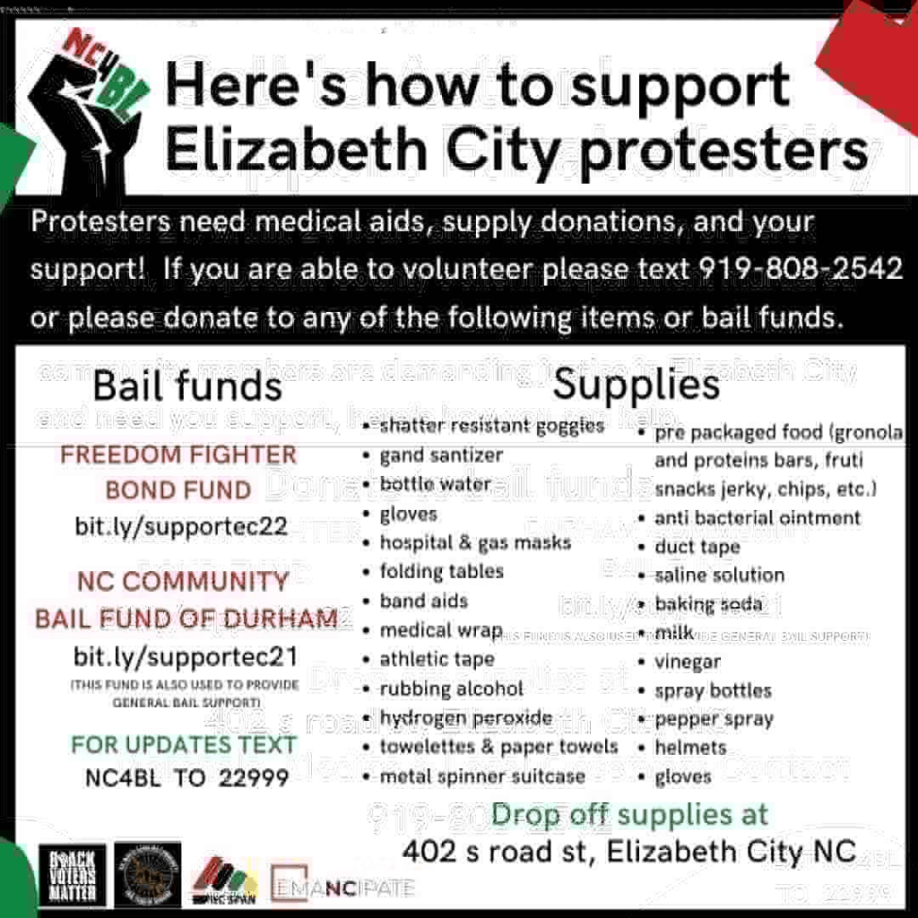 Black, red, green, and white flyer with list of requested supplies and bail fund links.